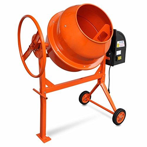 Hormigonera eléctrica en acero con color naranja 140L 650W