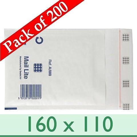 200Enveloppes Mail Lite A/000Sacs rembourré avec patte autocollante Blanc et bande d'étanchéité ~ ~ 160mm x 110mm