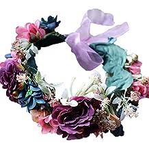 YAZILIND Boda de Flores de Novia Corona Guirnalda de Flores de la Playa de  guirnaldas de 770a0693514