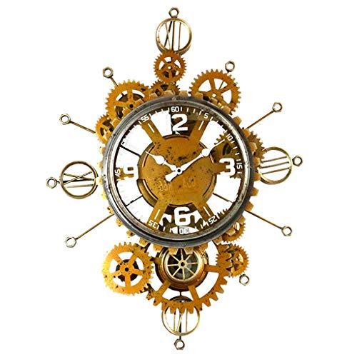 Qqzmd orologio da parete muto retro industrial handmade 3d gear decorativo con numeri romani soggiorno orologio da cucina in oro (color : gold)