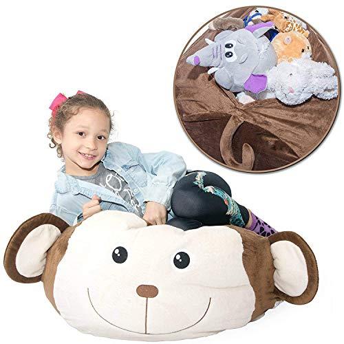 Smartlife Stuffed Animal Storage Bean Bag - Bequemer, Weicher Und Bequemer Stoff Kids Love - Affe, Schwein Oder Elefant - Ersetzen Sie Ihre Mesh Toy-Hängematte Oder Ihr Netz