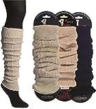 2 x Damen Legwarmer mit Wolle - Warme Stulpen mit trendigem Zopfmuster