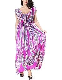 Feoya Vestido para Mujer Largo Estampado Bohemia de Gasa para Verano Primavera Playa Fiesta