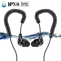 AGPTEK Écouteurs Étanches IPX8 Casque avec Crochet d'oreille 3.5mm pour Le Sport et la Natation avec Bouchons d'oreille, Certifié par: FCC CE ROHS, Compatible mp3 Etanche S05, S12, S33 - E13B Noir