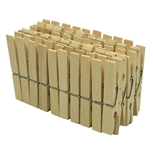 50 Wäscheklammern Holz-Klammern 7,2x1,1cm - aus Holz natur ideal zum Basteln