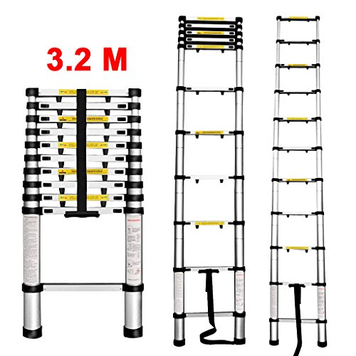 Finether 3.2M Portable Aluminum Telescoping Ladder with Finger Protection Spacers for Home Loft Office, EN131 Certified, 330 Lb Capacity