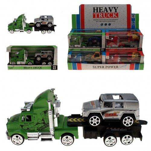 3er Set: Hochwertiges Spielzeugauto Truck mit Hänger & Auto | LKW