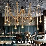 Lampadario ragno corda di canapa/stile industriale retrò/soggiorno sala da pranzo bar balcone/lampade non incluse lampadine (Capacità : 8KOPF)