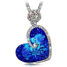 """J.NINA """"Afrodita"""" Collar Mujer del Diseño del Corazón del de fabricados con cristales Swarovsk Grabado con """"Te amo"""" Collar De las Mujeres, el Mejor Regalo para la Mujer y las Muchachas"""