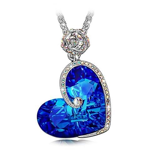 J.NINA Aphrodite Collier Femme cristaux Swarovski Cadeau Femme Bleu Coeur Bijoux Cadeau Anniversaire Cadeau Noël Saint Valentin Cadeau Fete Des Meres Cadeaux Maman Pour Mère Fille épouse Petite