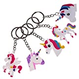 LOTONJT Assorted Unicorn Party Favor Keychains, 10 Pcs Unicorn Keychain Door Car Plush Key Ring Pendants for Keyring Gift for Women/Girl
