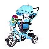 SSLC Kinderdreirad,Kinderdreirad Kinder Fahrrad Baby Kleinkinder mit Lenkbarer Schubstange, mit FlüSterleise Gummireifen und Sonnendach für Jungen und Mädchen ab 12 Monate -5 Jahre, Blue