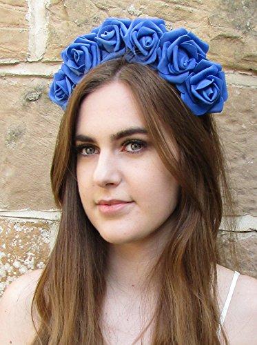 Bleu Taille L Rose cheveux fleur couronne bandeau Guirlande Festival Vintage Big Boho Z72 * * * * * * * * exclusivement vendu par – Beauté * * * * * * * *