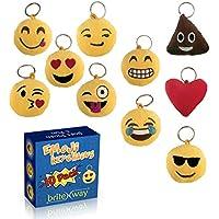 Portachiavi tondo con faccine emoji Set di 10 - Portachiavi cuscini dolci carini morbidi & peluche gialli - Anello del gancio in metallo durevole – divertenti per feste di bambini – Facili da installare su zaini, borse, telefoni & altre cose