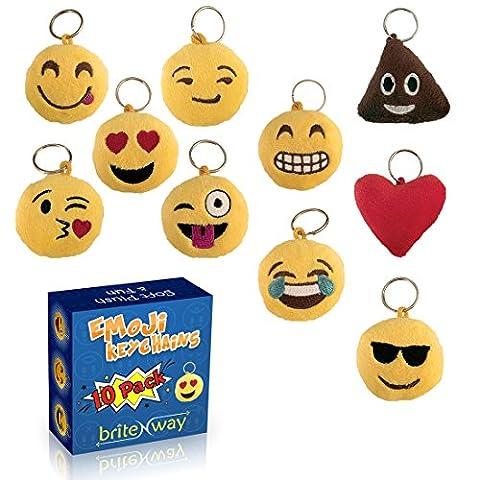 Emoji Porte-clé rond Faces ensemble de 10 - mignon doux & oreiller jaune peluche porte-clés (Novità Collezione Sole)