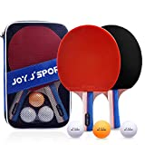 Joy.J Raquette de Ping Pong, 2 Raquette de Tennis de Table + 3Balle+ 1 Sac, Set de Tennis de Table pour Débutants et Joueurs Avancés