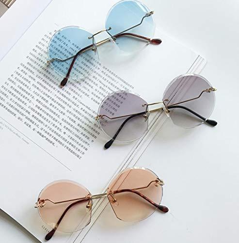 Sonnenbrille-weibliche Retro- runde rahmenlose Zutat-Ozean-Stück-Sonnenbrille-Art- und Weisehippie-Anti-Uvgläser, die Mirror-1 fahren