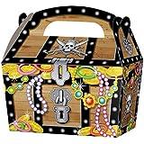 10 x Pirat Schatztruhe Kinder Party Behandeln Kuchen Essen Boxen Geschenk Goodie Taschen