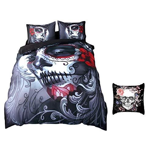 Onlyway Conjunto de ropa de cama de 3 piezas impreso, funda de edredón, funda de almohada, diseño de cráneo de Halloween