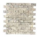 Mattoncini mosaico in travertino per salotto • camera da letto • cucina • corridoio | Rivestimento parete in pietra naturale elegante | 30,5cm x 29,0cm | Rio Silver