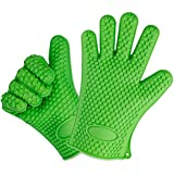 Karp Oven Gloves - Silicone Baking & Bbq Insulated Gloves (Green Color)