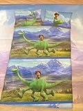 Bettwäsche Kinder Disney Pixar Arlo & Spot Bezug 100x135cm Kissen 40x60cm Wendemotiv mit Knopfverschluss 100%Baumwolle
