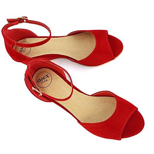 ESSEX GLAM Donna Cuneo Basso Cinturino alla Caviglia Peep Toe Sintetico Sandalo Rosso Finto Scamosciato