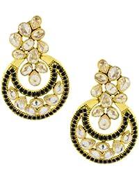 The Jewelbox Designer Flower Kundan Black 18K Gold Plated Chandbali Earring For Women