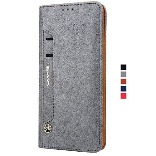 HARRMS Handyhülle Handytasche Samsung Galaxy S9 Plus + (Grösser) mit Kartenfach Kredit Karten Geldklammer Hülle Kunst Leder Handy Schutzhülle, Grau