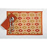 Digitally Printed Faux Silk Place Mats And Napkins Set Of 4,Beige And Orange