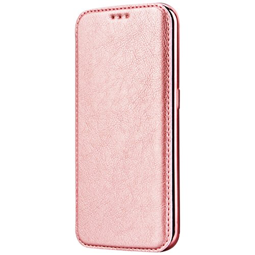Samsung Galaxy S6 Edge Coque , Yokata Luxe Luxury Vintage PU Étui Flip Housse Cuir mit TPU Doux Silicone Flexible Cover Backcover Portefeuille de Carte Slots Ultra Mince Housse Wallet Case Rose Gold