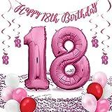deloono Folienluftballons Set - füe die perfekte Überraschung zum Geburtstag: XXL Luftballon pink (100cm) + Konfetti + Happy