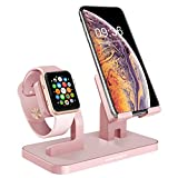 BENTOBEN Phone Stand, iPhone iWatch Dock, 2 in 1 iWatch iPhone Stand Docking Station Desktop Dock für iPhone XS Max 8 7 6 SE iWatch iPad Smartwatch Samsung Galaxy Huawei Honor usw. Roségold