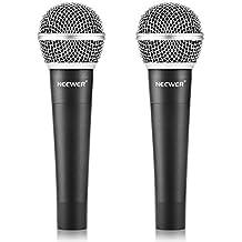 """Neewer® Aleación de zinc Negro Profesional bobina móvil dinámico de mano Micrófono para el Karaoke, Escenario, Casa Estudio de grabación, con 1/4 """"macho a XLR hembra cable, 2 paquete"""