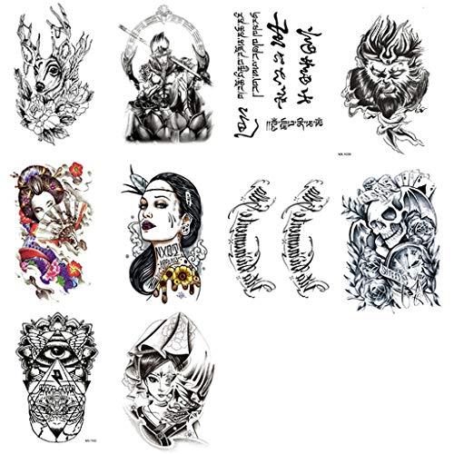 Männlich Machen Zu Leicht Kostüm - FACAILE Blumen-Arm-wasserdichte Tätowierungs-Aufkleber-männliche Tätowierungs-reizvolle Langlebige Blumen-Arm-Persönlichkeits-Aufkleber 10 Blätter Tattoo Aufkleber