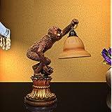 Kesierte LED Die Schreibtisch-Wand europäischen Stil Luxus Schlafzimmer Wohnzimmer Große kreative Nacht Studie tropischen ländlichen Affe Lamp17.7inch