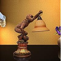 ZZF LED La Grande Muraglia di stile europeo di lusso da letto Soggiorno creativo comodino Studio rurale tropicale Scimmia Desk