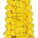 #9: Sphinx Artificial Marigold Fluffy Flowers Garlands For Decoration - Pack Of 5 (Yellow)