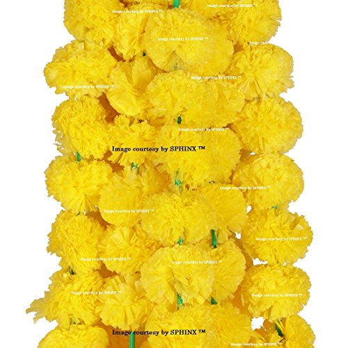Sphinx Artificial Marigold Fluffy Flowers Garlands For Decoration - Pack Of 5...