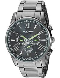 Akribos XXIV Reloj automático metal y de cuarzo suizo de acero inoxidable para hombre, color: negro