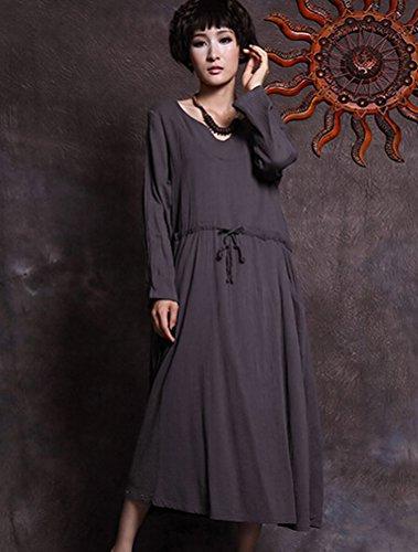 MatchLife Damen Langarm Kordelzug Taille Lange Kleider Grau