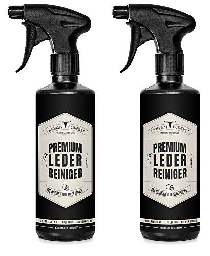 Premium LEDERREINIGER optimal zur Reinigung von Leder - URBAN FOREST Lederpflege für Auto Möbel Motorradbekleidung Handtaschen Ledercouch Schuhe Sattel mit natürlichem Avocado-Öl, Set: 2 x 500ml -