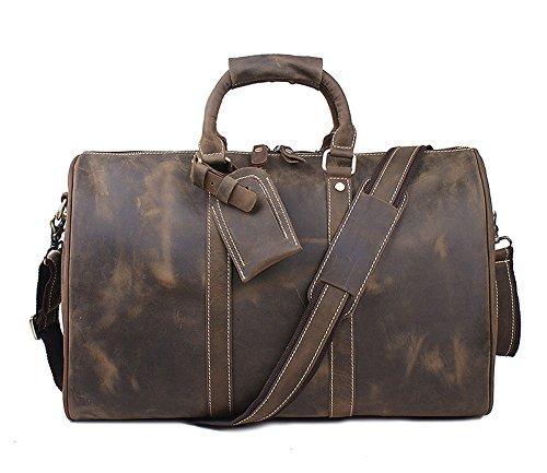 Everdoss Hommes sac à main de style rétro en cuir véritable sac de messager sac à bandoulière sac de business sac de voyage de loisirs café foncé