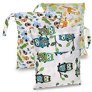 Sumnacon 3 Packs Waterproof Reusable Wet Dry Bag Washable Travel Infant Cloth Nappy Bag Child Interest Diaper Zipper Bag