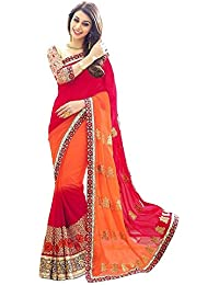 Saree By Saree Mandir Georgette Saree With Blouse Piece (_Orange And Red_Free Size)