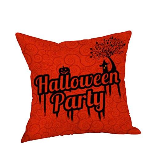 DOLDOA ☀『 Halloween kissen Abdeckungs』☀ Halloween Kissenbezug Leinen Sofa Kürbis Geister Kissenbezug Heimtextilien (C)