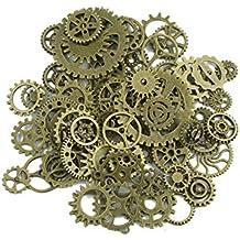 Mangotree 100 Gramm Antike Steampunk Getriebe Zahnräder Charms Uhr Räder für Basteln Cosplay Halloween Dekoration (Bronze)