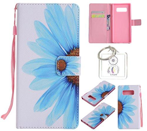 für Galaxy Note8 PU Wallet Case Schutz Hülle für Galaxy Note8 - Cover Flip Tasche mit Kartenfach in Buch Stil mit Kartenfach Standfunktion Magnetverschluss und Hand Wrist +Schlüsselanhänger (O) (11)