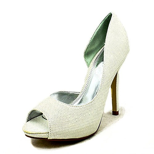 Mesdames talon haut glitter couverte côtés un parti chaussures ivoire paillettes