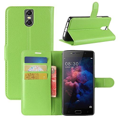 HualuBro DOOGEE BL7000 Hülle, Premium PU Leder Leather Wallet HandyHülle Tasche Schutzhülle Case Flip Cover mit Karten Slot für Doogee BL7000 5.5 Inch Smartphone (Grün)